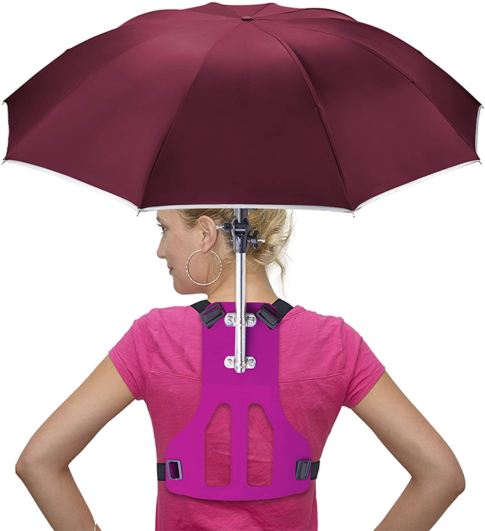 wearable hands-free umbrella red