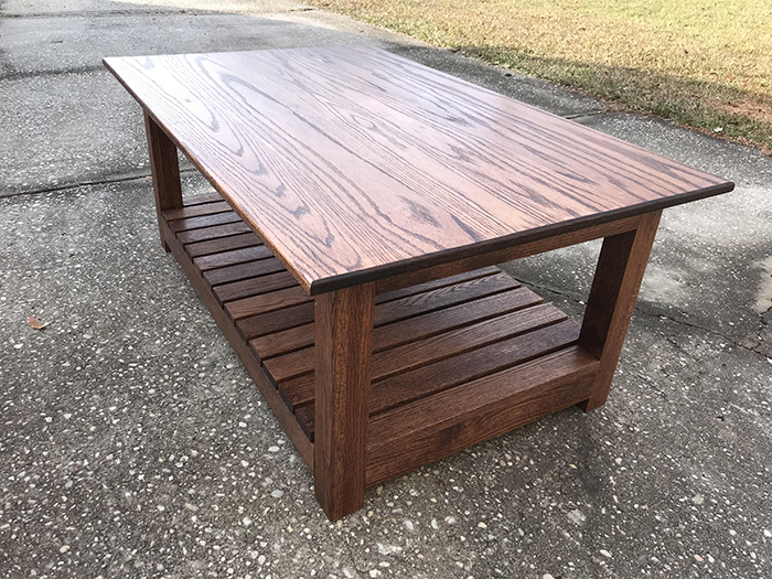 wooden coffee table by 14-year-old son
