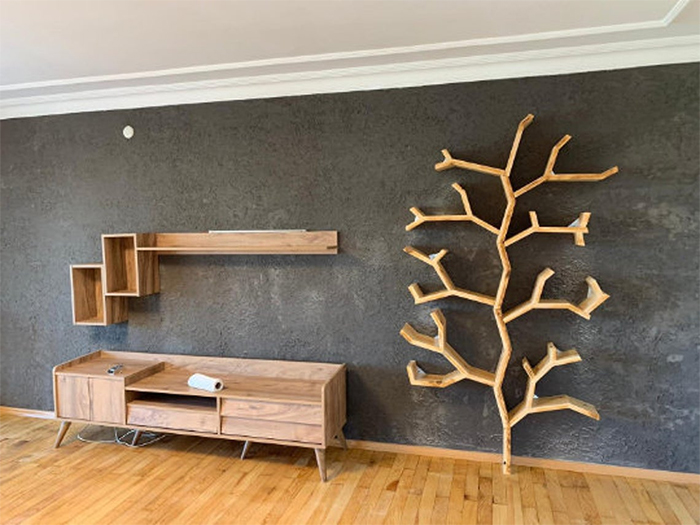wooden tree branch wall mounted furniture