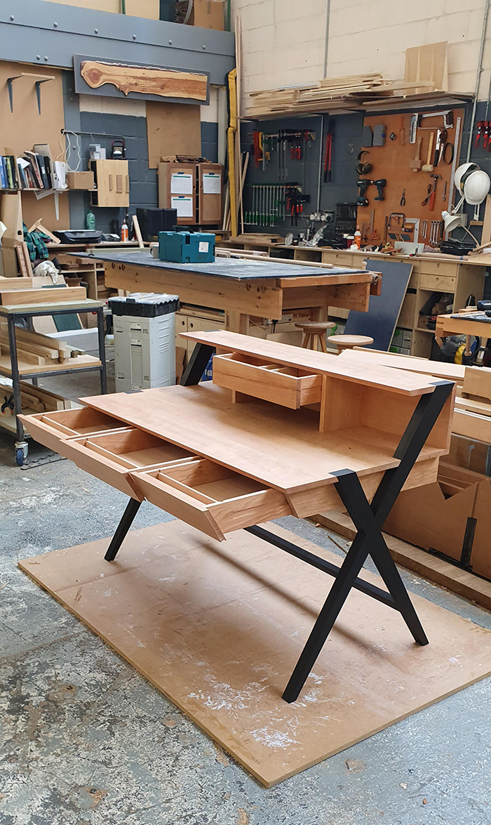 woodworking skills cherry desk with blackened legs