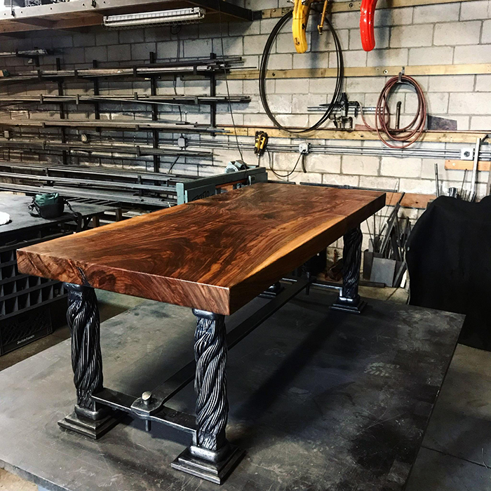 woodworking skills prototype table made of golden gate bridge suspender ropes and claro walnut top