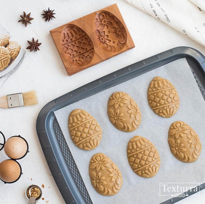 3d easter egg cookie mold wood