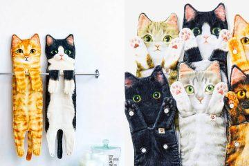 Cat shaped towels