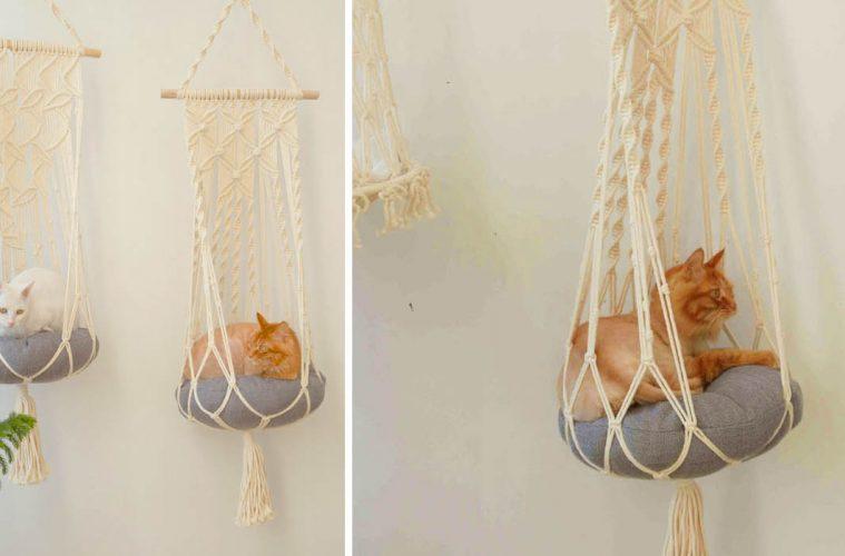 Hanging Macrame Cat hammocks