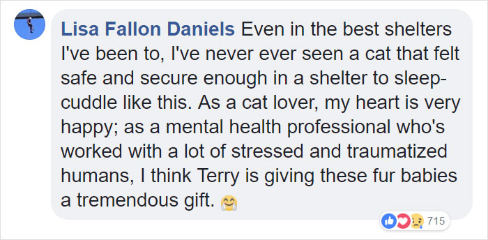 Lisa Fallon Daniels thinks Terry is giving the shelter cats a tremendous gift