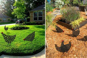 Metal Chickens garden decor