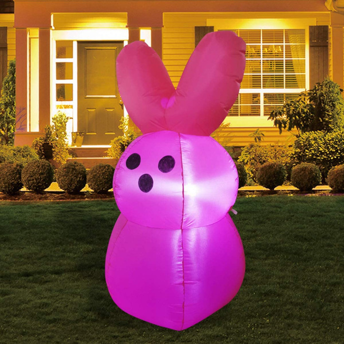 Pink Bunny Peeps Inflatables illuminated by internal LED light