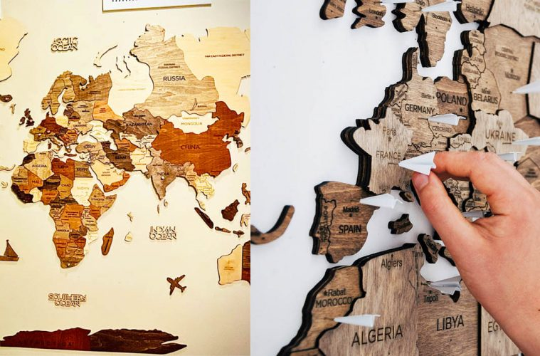Wooden wall map