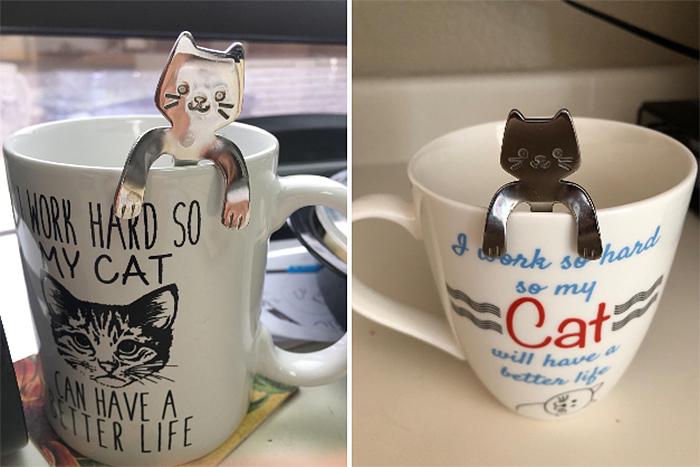 adorable silver flatware kitty design