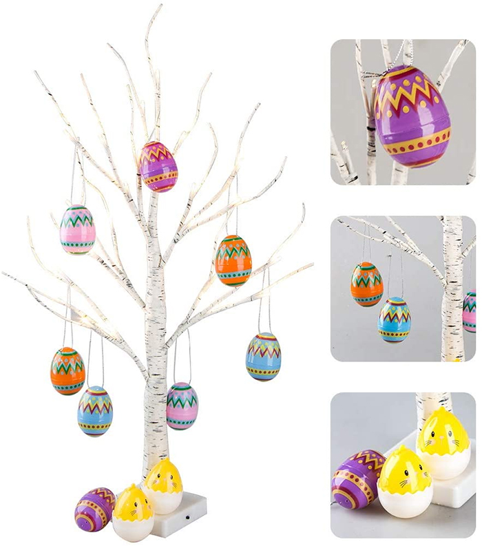 artificial birch tree ornamental eggs