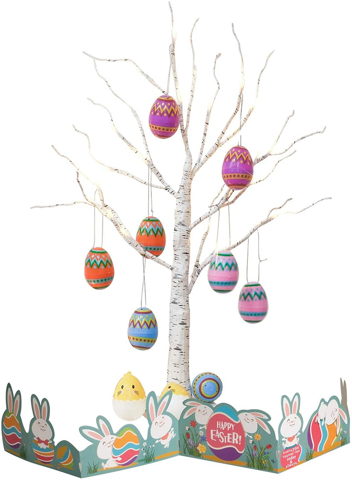 artificial tree with ornamental eggs