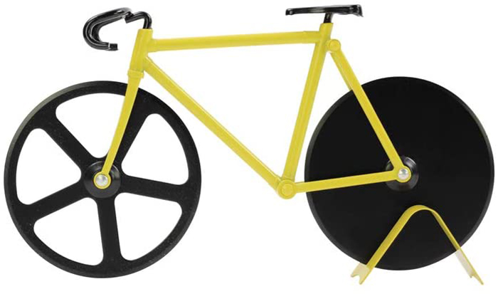 bicycle shaped pizza cutter black and yellow