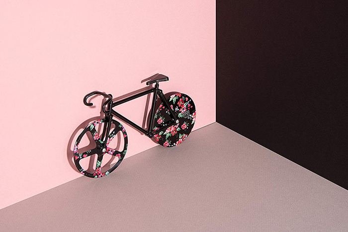 bicycle shaped pizza cutter floral design