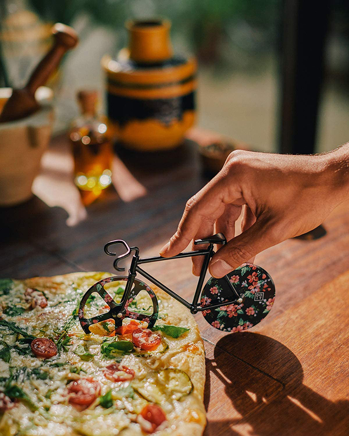 bicycle shaped pizza cutter with floral design