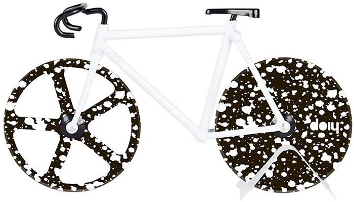 bike inspired pie slicer black and white splatter design