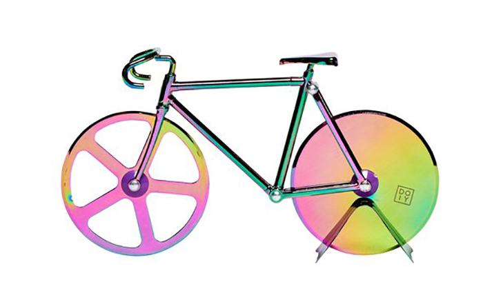bike inspired pie slicer iridescent design