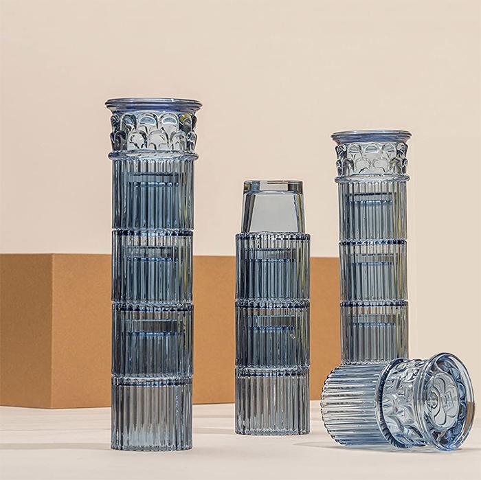 blue glass drinkware greek column style