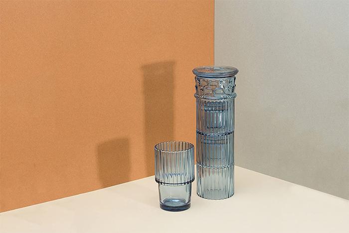 blue glass drinkware greek column