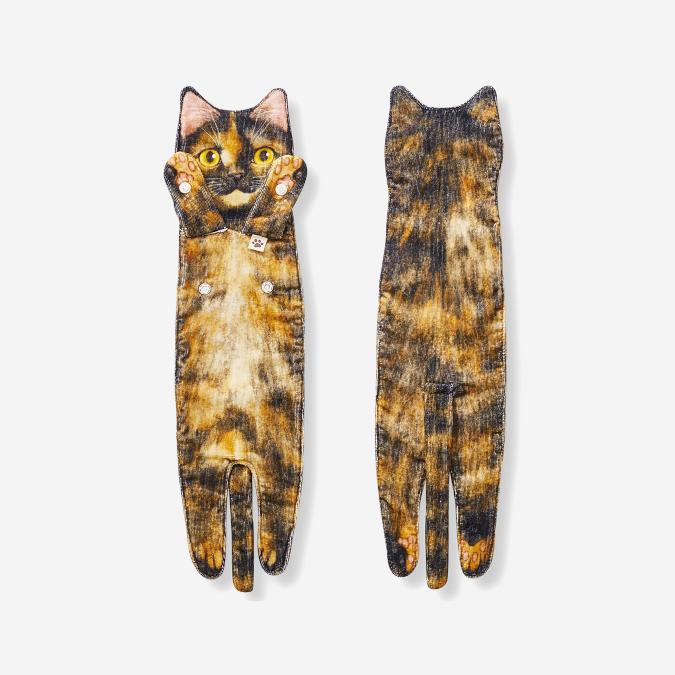 calico cat-inspired bathroom towel