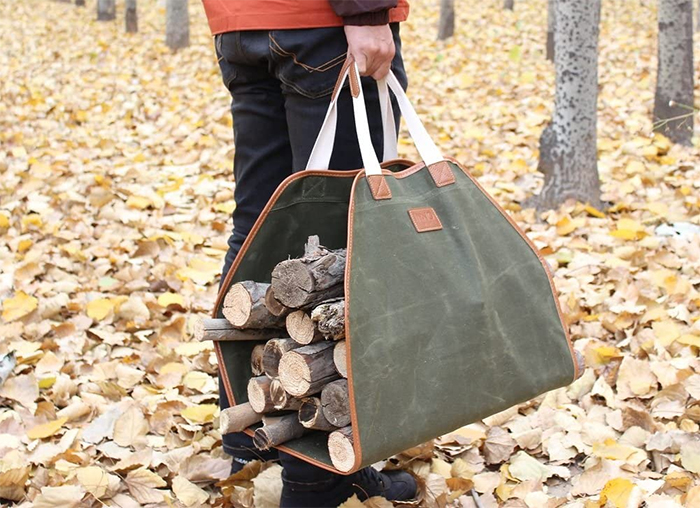 canvas firewood carrier camping