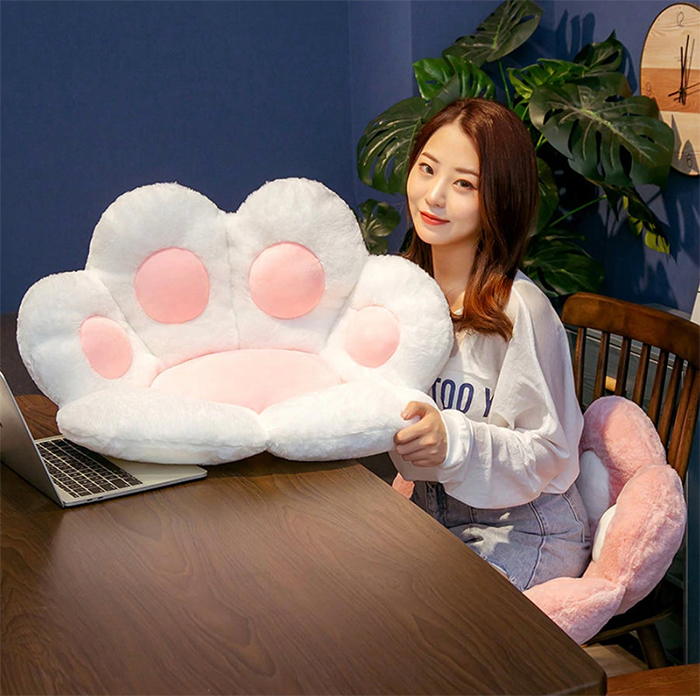 cat paw seat pillow blue