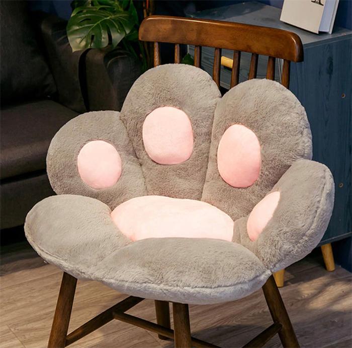cat paw seat pillow grey