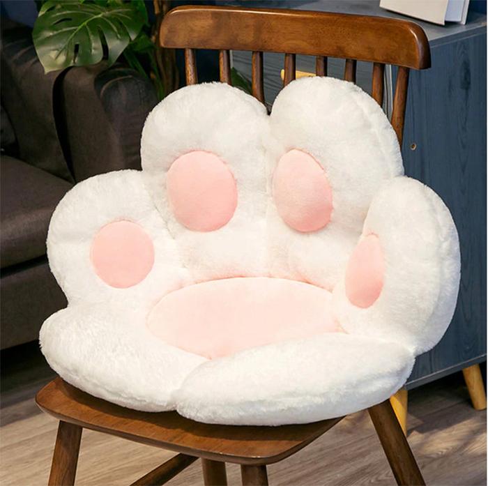 cat paw seat pillow white