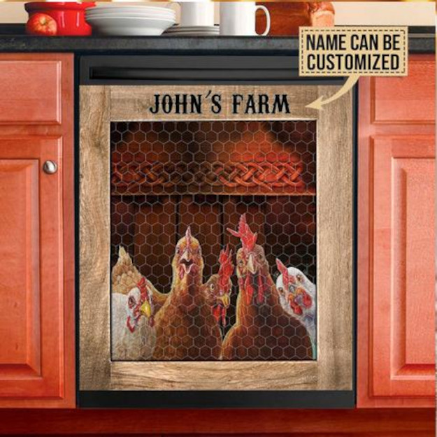 chicken coop dishwasher cover with custom name