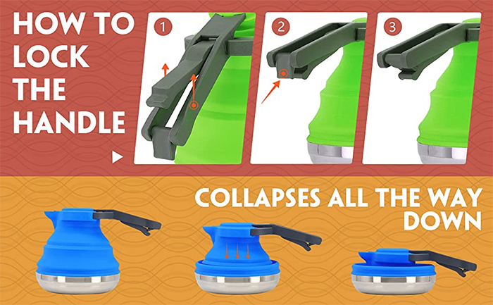 collapsible camping kettle lock handle