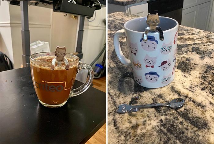 cute silver cat spoons