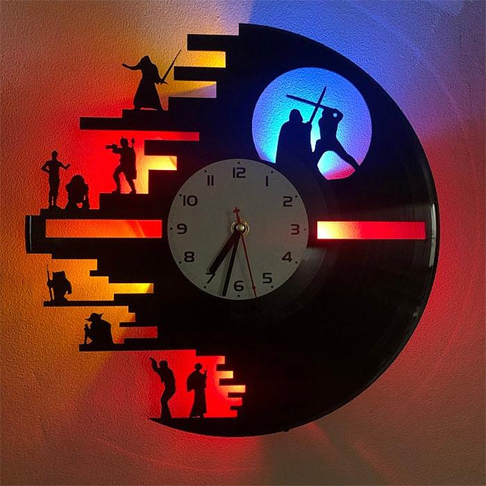 death star vinyl record clock backlight