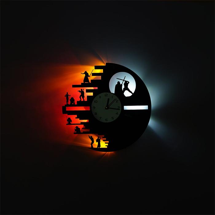 death star vinyl record clock led lights