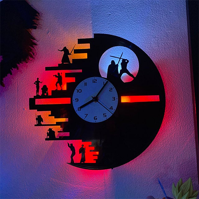 death star vinyl record clock with led lights