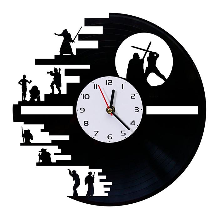 death star vinyl record clock