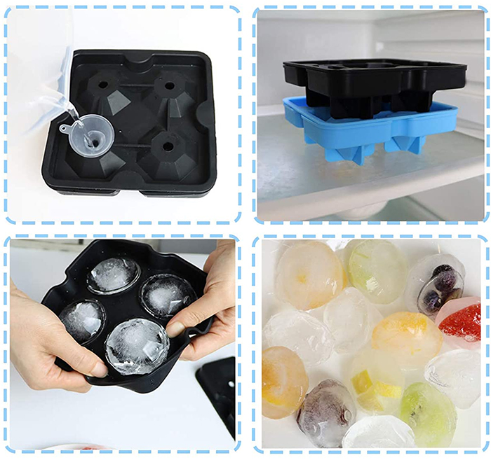 diamond-shaped ice cube tray with funnel