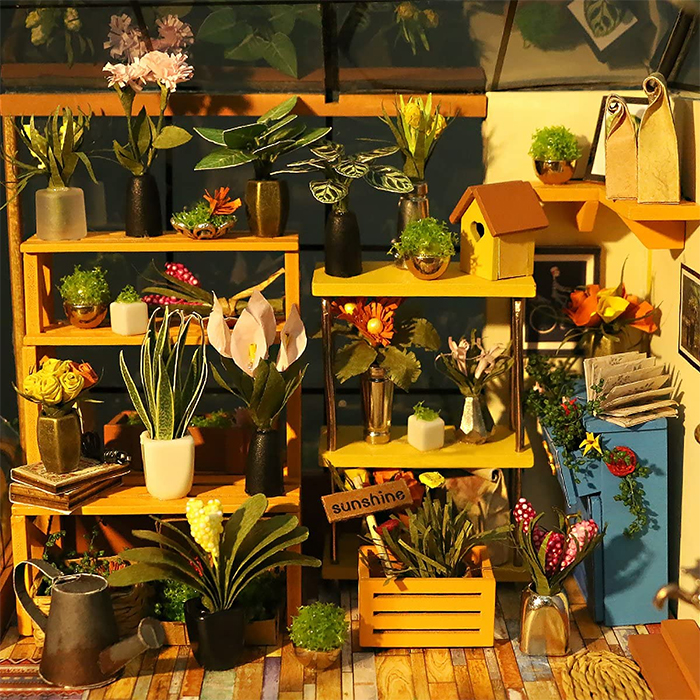 diy mini greenhouse kit interior details