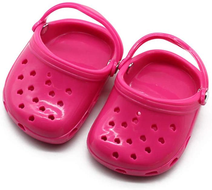 dog crocs pink