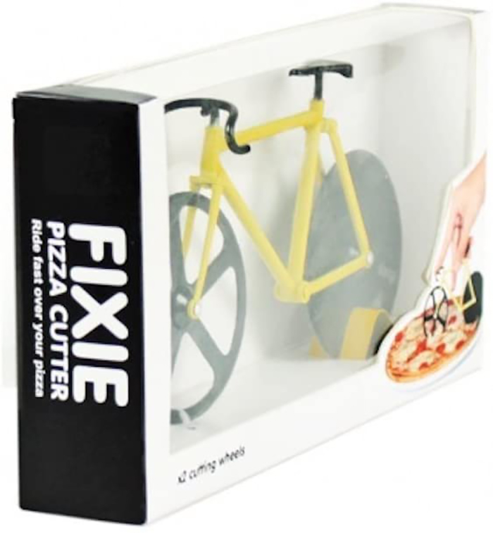 fixie bicycle shaped pizza cutter black and yellow