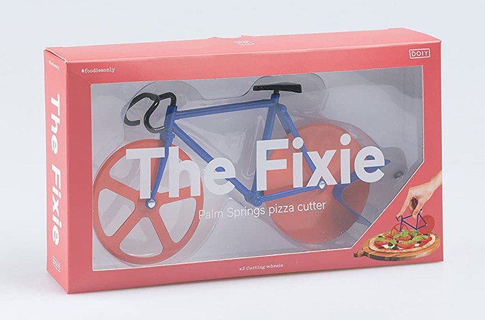 fixie bicycle shaped pizza cutter red and blue
