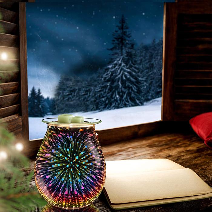 flameless scented wax burner fireworks effect