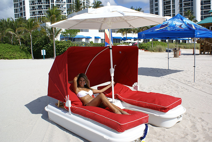 floating cabana loungers by the shore