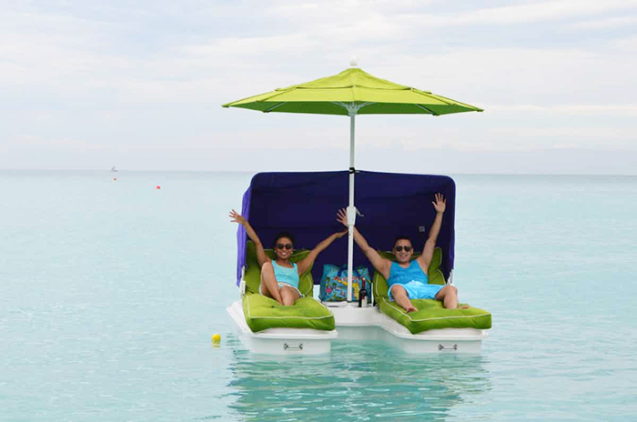 floating cabana loungers with attachable canopy and umbrella