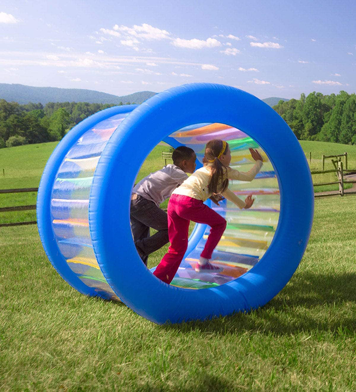 giant inflatable rolling wheel for kids