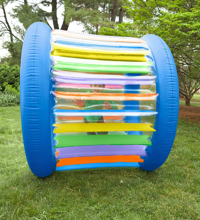 giant rainbow colored inflatable rolling wheel