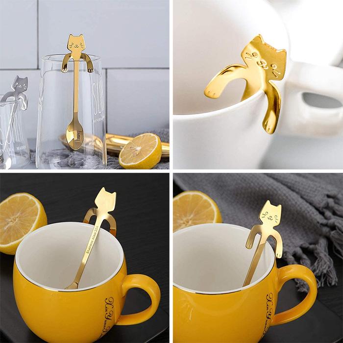 gold cat spoons