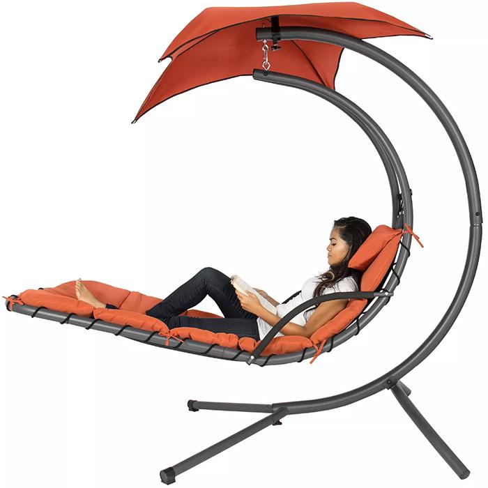 hammock-style swing chair orange
