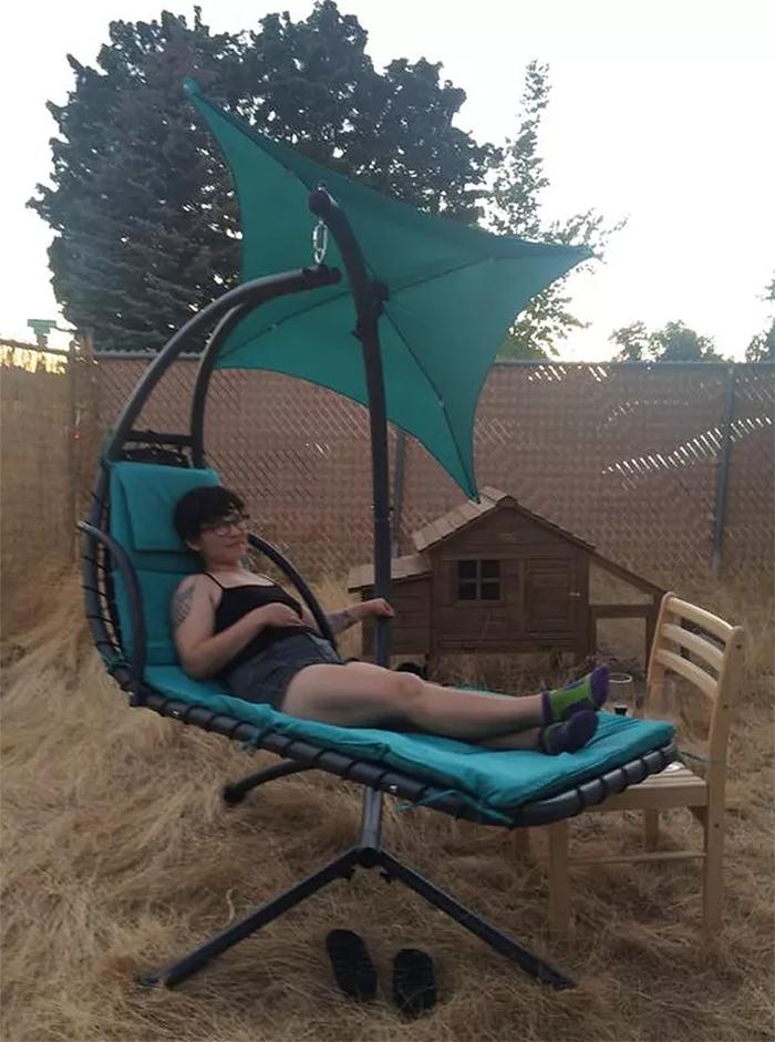 hammock-style swing chair outdoor