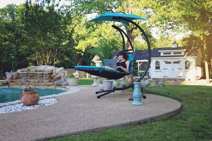 hammock-style swing chair teal