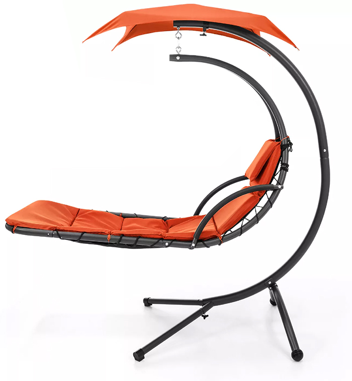 hanging curved chaise lounger orange