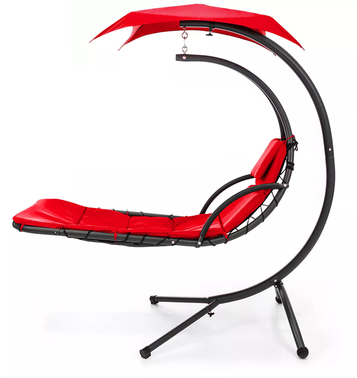 hanging curved chaise lounger red
